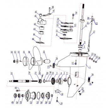 Приводной вал для лодочного мотора (9.8F-06.23.00)