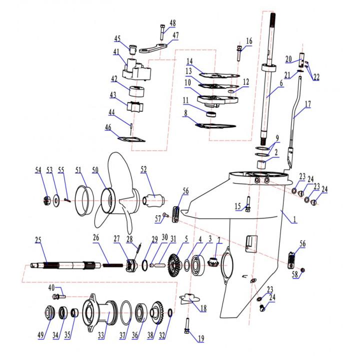 Тяга переключения передач для лодочного мотора (9.8F-06.24.00-S)