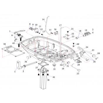 Кронштейн переключения передач для лодочного мотора (9.8F-01.05.04)