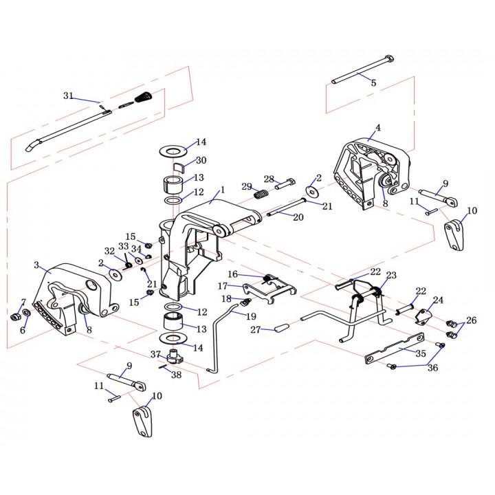 Пластина регулировки поворота для лодочного мотора (9.8F-03.04.01)