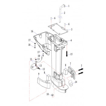 Демпфер (левая часть с рез) для лодочного мотора (9.8F-05.03)