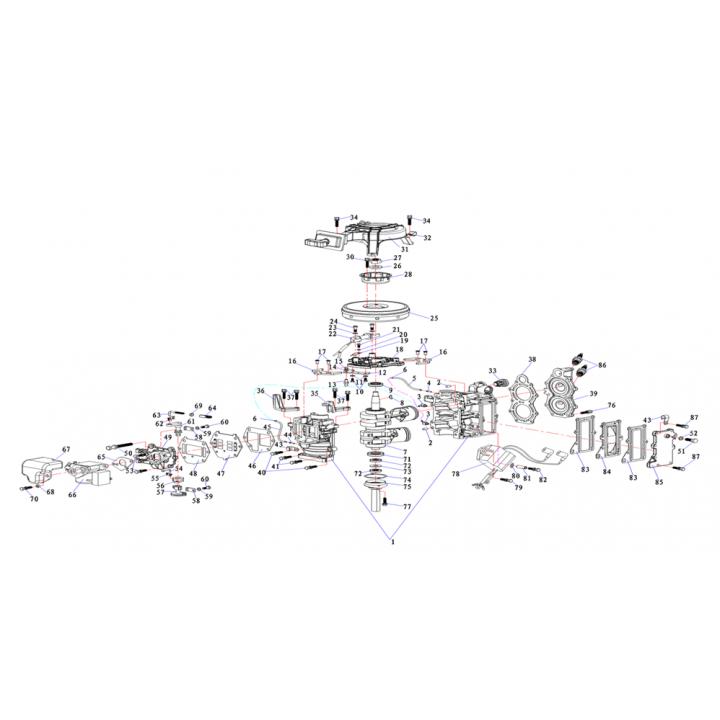 Прокладка выпускного коллектора для лодочного мотора (9.8F-01.06.08)